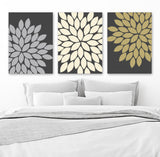Flower Wall Art, Gray Gold Bedroom Pictures Canvas or Prints  Gray Gold BATHROOM Art Decor, Set of 3, Gray Gold Wall Decor, Flower Pictures