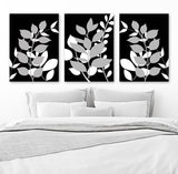 Black Gray Wall Art, Black Gray Bedroom Wall Decor, Leaves CANVAS or Prints, Leaf Bathroom Decor, Foliage Wall Decor, Set of 3 Home Decor