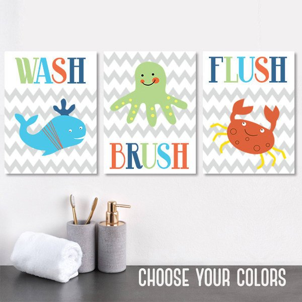 Kid BATHROOM Decor, Wash Brush Flush Rules, CANVAS or Prints, Child Ocean Bathroom Decor, BATHROOM Wall Decor, Crab Whale Octopus, Set of 3