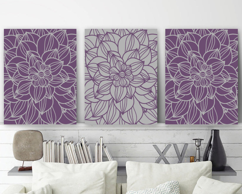 Purple Gray Bedroom Pictures, Flower CANVAS or Prints, Purple Gray Bathroom Decor, Flower Wall Art, Set of 3 Floral Home Decor Pictures