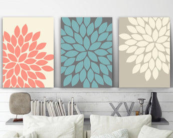 Coral Wall Art, Coral Bedroom Wall Decor, CANVAS or Print, Coral Beige Bathroom Decor, Flower Wall Art, Flower Burst Petals Artwork Set of 3