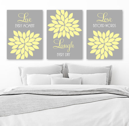 Live Laugh Love Wall Art, Yellow Gray Bedroom Wall Decor, Bathroom Decor, Yellow Gray Flower Nursery Wall Decor, CANVAS or Print Set of 3