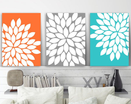 Flower Wall Art, Orange Gray Turquoise, Floral Bedroom Wall Decor, Canvas or Print, Floral Bathroom Decor, Flower Burst Petals, Set of 3