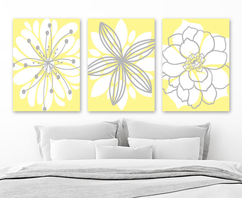 Flower Pictures, Yellow Gray Nursery Decor, YELLOW GRAY Bedroom Wall Art, Canvas or Prints, Yellow Gray Bathroom Decor, Set of 3 Wall Decor