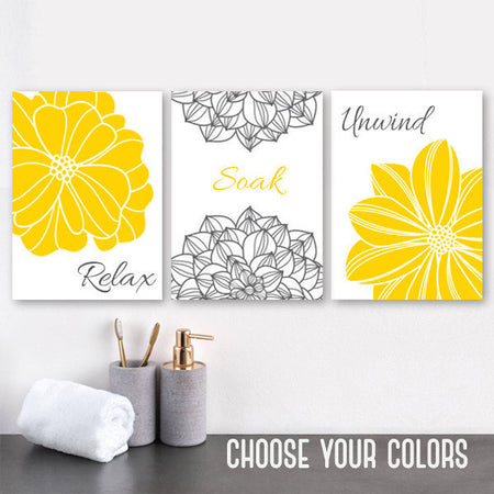YELLOW Gray BATHROOM Wall Art, Canvas or Prints, Flower Bathroom Decor, Relax Soak Unwind, Yellow GRAY Bathroom Quotes, Set of 3 Pictures