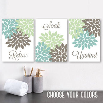 Bathroom Decor, Seafoam Brown BATHROOM WALL Art, CANVAS or Prints, Relax Soak Unwind, Bathroom Quotes, Flower Bathroom Pictures, Set of 3