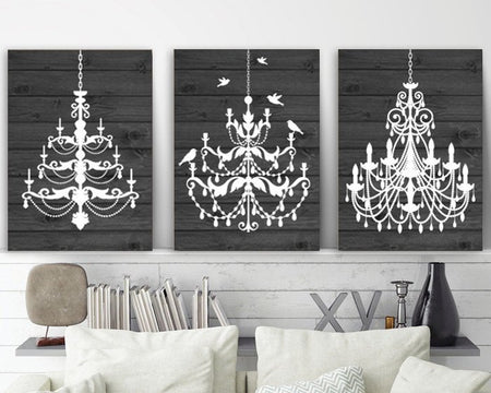 CHANDELIER Wall Art, Canvas or Print Gray Wood Effect Wall Art, Rustic Bathroom Decor, Chandelier Bedroom Decor, Set of 3 Chandelier Picture