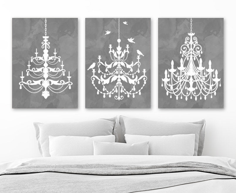 CHANDELIER Wall Art, CHANDELIER Canvas or Print Gray Watercolor Wall Art, Gray Bathroom Wall Decor, CHANDELIER Gray Bedroom Decor, Set of 3 - TRM Design