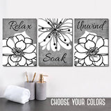 Gray BATHROOM WALL Art, CANVAS or Prints, Relax Soak Unwind, Rustic Bath Quote Pictures, Farmhouse Bathroom Quotes, Set of 3 Gray Pictures
