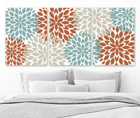 Flower Wall Art, Terracotta Aqua Beige Bedroom Wall Decor, Floral CANVAS or Prints Floral Bathroom Decor, Flower Artwork, Set of 3 Pictures