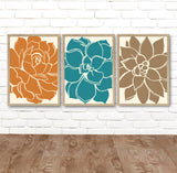 Succulent Flower Wall Art, Flower Kitchen Wall Decor, Flower Bedroom Pictures Canvas or Print Teal Orange Brown Bathroom Decor, Set of 3