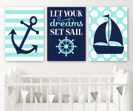 BOY NAUTICAL Wall Art, Nautical CANVAS or Prints, Nautical Baby Boy Nursery Decor, Anchor Sailboat Decor, Let Your Dreams Set Sail, Set of 3