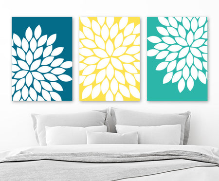 Flower Wall Art, Turquoise Yellow Green Flower Bedroom Pictures, Canvas or Prints, Floral Bathroom Decor, Flower Burst Petals, Set of 3 Art