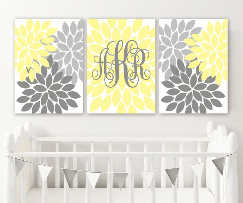 Yellow Gray Monogram Nursery Decor, Yellow Girl Flower Monogram Wall Art, Baby Girl Yellow Gray Nursery Wall Decor, Set of 3 Canvas or Print