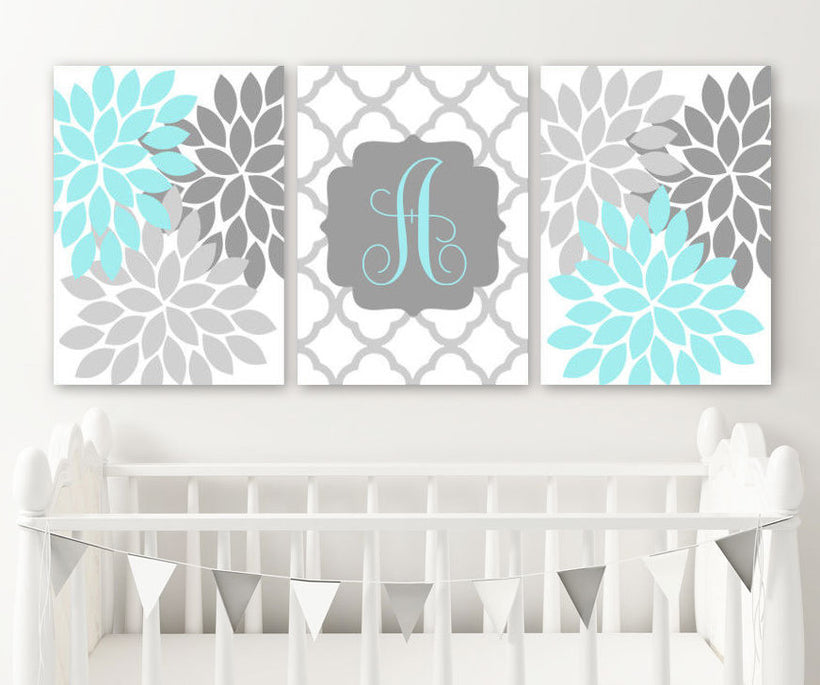 Aqua Gray Girl Flower Monogram Wall Art, Girl Monogram Nursery Decor, Baby Girl Nursery Wall Art Canvas or Prints Set of 3 Above Crib Art - TRM Design
