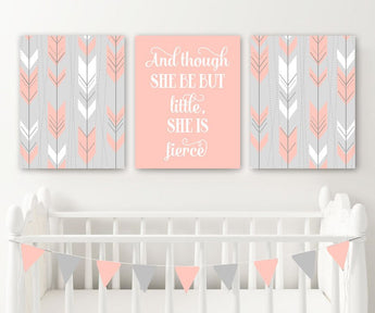 Arrow Boho Tribal Nursery Decor, Girl Tribal Boho Nursery Wall Art, Girl Nursery Quote Canvas or Prints But Little She is Fierce, Set of 3 - TRM Design