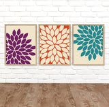 Kitchen Wall Art, CANVAS or Prints, Purple Orange Teal, Flower Bathroom Wall Decor, Flower Home Wall Decor, Flower Bedroom Decor, Set of 3