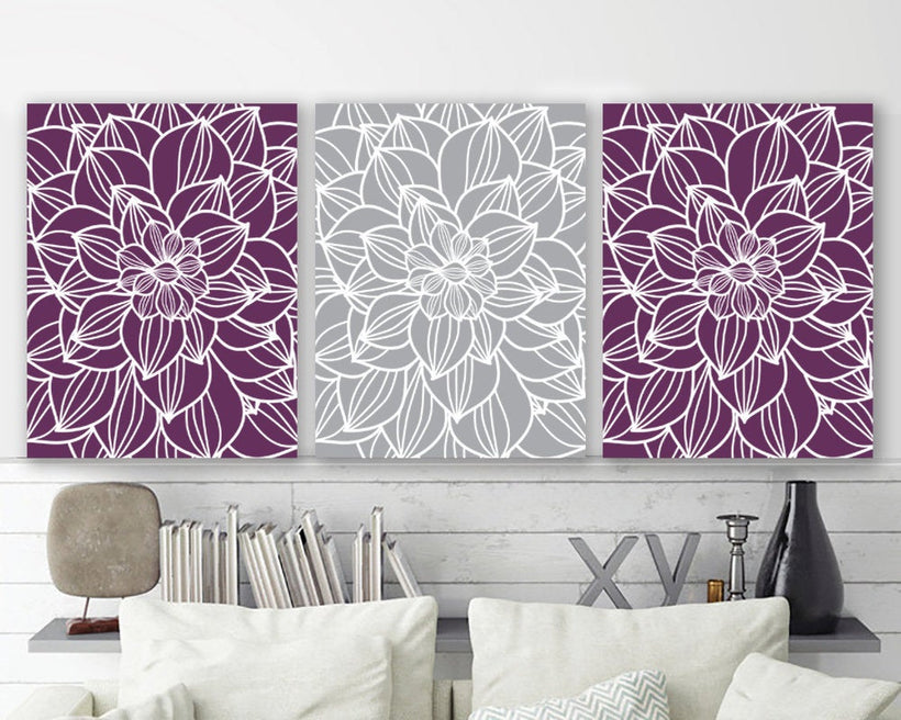 PURPLE GRAY Wall Art, Outline Flower Art, Floral Home Decor Canvas or Prints  Purple Bathroom Decor, Purple Gray Bedroom Pictures, Set of 3