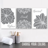 Gray BATHROOM WALL Art, Bathroom Canvas or Print, Gray Flower Bathroom Wall Decor, Relax Soak Unwind, Bathroom Quotes Set of 3 Art Pictures