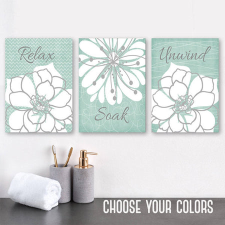 Seafoam BATHROOM WALL Art, CANVAS or Prints, Relax Soak Unwind, Rustic Bath Quote Wall Decor, Farmhouse Bathroom Quotes, Set of 3 Wall Decor