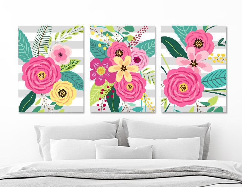 Flower Bouquet Wall Art, Girl Flower Bedroom Wall Decor CANVAS or Prints, Gray Stripe Colorful Flower Wall Art, Set of 3 Flower Artwork
