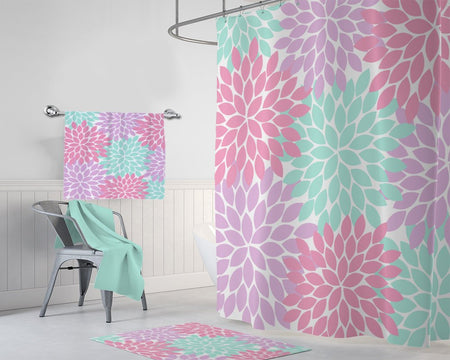 Pink Purple Aqua Flower SHOWER CURTAIN, Custom Girl MONOGRAM Personalized Girl Bathroom Decor Flower Bathroom Bath Towel Bath Mat Rug