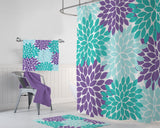 Aqua Teal Purple Flower SHOWER CURTAIN, Flower Bathroom Decor, Girl MONOGRAM Personalized, Aqua Teal Purple Bath Towel, Plush Bath Mat Rug