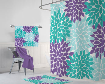 Aqua Teal Purple Flower SHOWER CURTAIN, Flower Bathroom Decor, Girl MONOGRAM Personalized, Aqua Teal Purple Bath Towel, Plush Bath Mat Rug - TRM Design