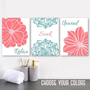 CORAL TEAL Bathroom Wall Art Canvas or Prints  Coral Teal Flower Bathroom Wall Decor, Relax Soak Unwind, Bathroom Quotes Pictures, Set of 3