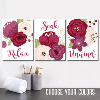 BATHROOM DECOR, Plum Red Maroon Bathroom Wall Art, CANVAS or Prints, Floral Bathroom, Relax Soak Unwind, Flower Bathroom Quotes, Set of 3