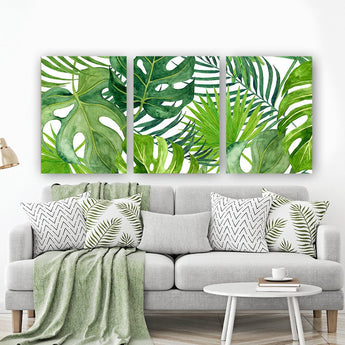 BANANA LEAF Wall Art, Tropical Bedroom Wall Decor Canvas or Prints Palm Watercolor, Floral Green Bathroom Decor, Home Decor, Set of 3 - TRM Design