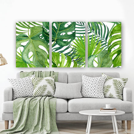 BANANA LEAF Wall Art, Tropical Bedroom Wall Decor, CANVAS or Prints, Palm Watercolor, Floral Green Bathroom Decor, Home Decor, Set of 3