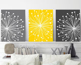 DANDELION Wall Art Canvas or Prints Gray Yellow Bedroom, Bathroom Decor, Gray Bedroom Pictures, Flower Dandelion Set of 3 Home Wall Decor - TRM Design