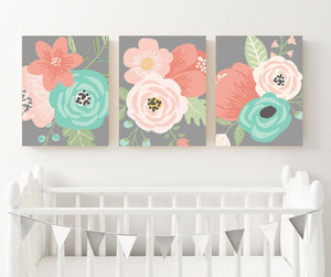 Flower Wall Art, Aqua Coral Gray Flower, Coral Gray Nursery Art, CANVAS or Print, Floral Bedroom Wall Decor, Floral Bathroom Decor, Set of 3