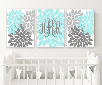 AQUA GRAY Nursery Wall Decor, Baby Girl Monogram Wall Art, Girl Bedroom Flower Monogram, Set of 3 Canvas or Prints Girl Above Crib Decor - TRM Design