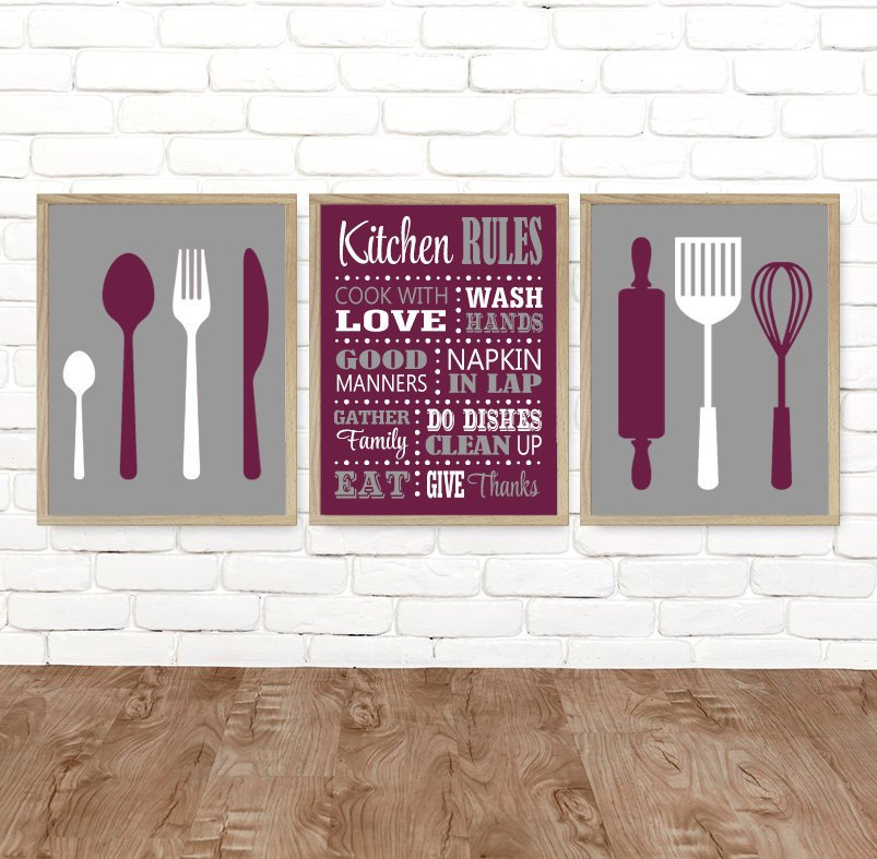 KITCHEN Rules Wall Art, CANVAS or Prints, Kitchen Rules Dining Room Decor, Utensils Spoon Fork Roller Wisk Wall Decor, Set of 3 Pictures