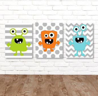 MONSTER Wall Art, Monster CANVAS or Prints, Monsters Theme Big Boy Bedroom Decor, Monster Wall Decor, Set of 3 Toddle Boy Room Pictures