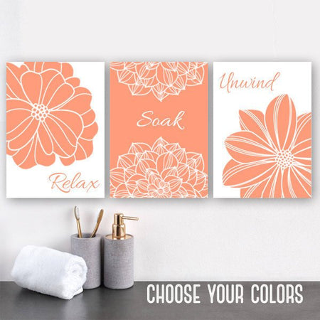 Peach BATHROOM Wall Art DECOR, Canvas or Prints, Peach Flower Bathroom Wall Decor, Relax Soak Unwind Bathroom Quotes Artwork Set of 3 Decor