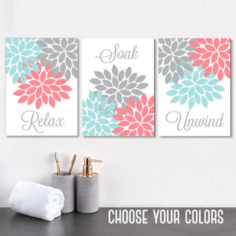 Aqua Coral Gray BATHROOM Wall Art Canvas or Prints Floral Bathroom Decor, Relax Soak Unwind, Floral Bathroom Pictures, Set of 3 Artwork - TRM Design
