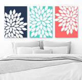 FLOWER Wall Art, Navy Turquoise Coral Bedroom Art, Flower CANVAS or Prints, Navy Coral Bathroom Decor, Floral Wall Decor, Set of 3 Artwork