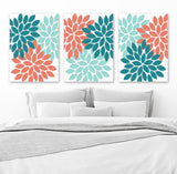 Teal Aqua Coral Wall Art, Flower Bedroom Canvas or Prints, Bathroom Decor, Flower Wall Art, Flower Burst Dahlia, Set of 3 Flower Pictures