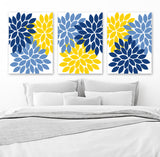 Flower Wall Art, Navy Blue Yellow Bedroom Canvas or Print, Navy Yellow Bathroom Decor, Floral Kitchen Wall Art, Floral Artwork, Set of 3