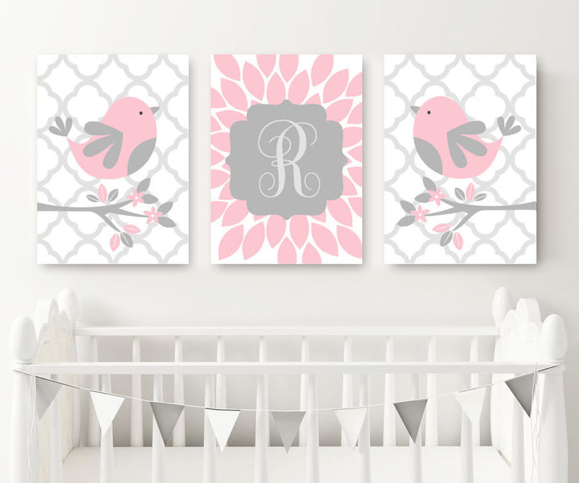 Pink Gray Nursery Decor, Bird Nursery Wall Art, Baby Girl Decor, Girl Monogram Bedroom Wall Decor, Above Crib, CANVAS or Print, Set of 3 Art