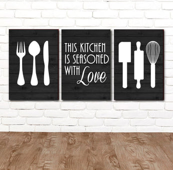 KITCHEN Wall Art, CANVAS or Prints, Utensil Wall Decor, Kitchen Quote Decor, Seasoned with Love, Set of 3 Housewarming Gift, Farmhouse Decor