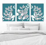 TEAL Gray Bedroom Pictures, Leaves Leaf CANVAS or Prints, Teal Gray Bathroom Decor, Leaf Foliage Wall Pictures, Set of 3, Botanical Artwork