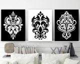 BLACK WHITE Wall Decor, Damask Decor, Black White Bedroom Wall Art, CANVAS or Print, Black White Bathroom Decor, Home Decor Set of 3 Artwork