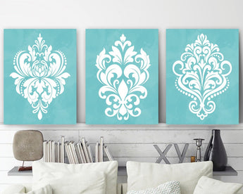 Aqua Bedroom Wall Art, Aqua Damask Canvas or Prints Aqua Watercolor Decor, Aqua Bathroom Decor, Aqua Damask Pictures, Set of 3 Pictures - TRM Design