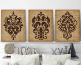 DAMASK Wall Art, CANVAS or Prints, Brown Bathroom Decor, Brown Bedroom Pictures, Tan Brown Beige Decor, Damask Pictures, Set of 3 Artwork