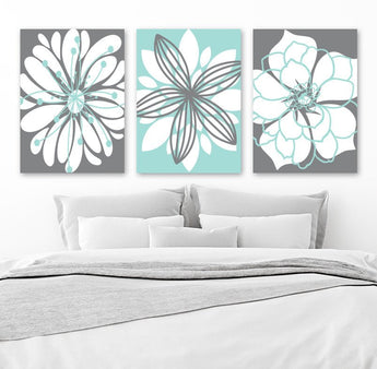 Aqua Gray Bedroom Wall Art, Flower Canvas or Print Aqua Gray Bathroom Decor, Flower Wall Art, Flower Wall Art, Set of 3 Home Decor Pictures - TRM Design