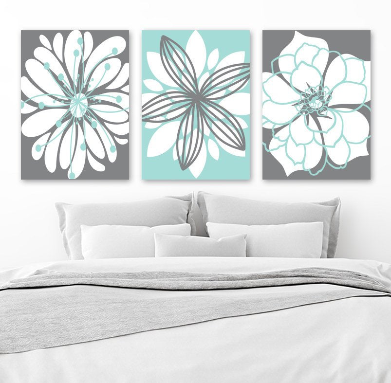Aqua Gray Bedroom Wall Art, Flower Canvas or Print Aqua Gray Bathroom  Decor, Flower Wall Art, Flower Wall Art, Set of 3 Home Decor Pictures